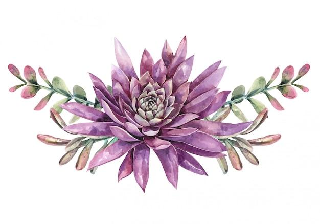 Bouquet di cactus e piante grasse di cactus dell'acquerello. pittura succulenta. pittura fiore viola.