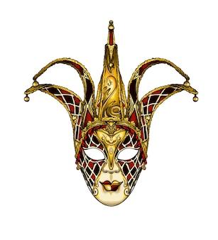Maschera veneziana di carnevale dell'acquerello su bianco