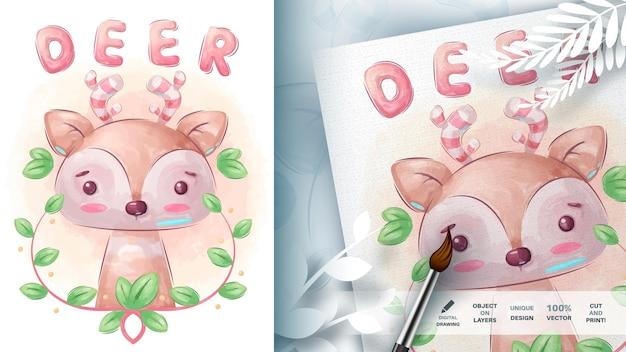 Cervo animale personaggio dei cartoni animati dell'acquerello