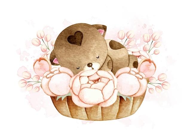 Gatto dell'acquerello che dorme nel cesto di fiori