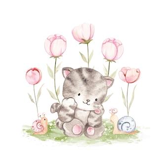 Gatto dell'acquerello con lumaca e fiore