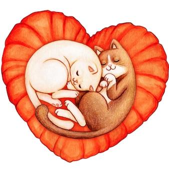 Gatti dell'acquerello che dormono su una vista superiore del cuscino del cuore