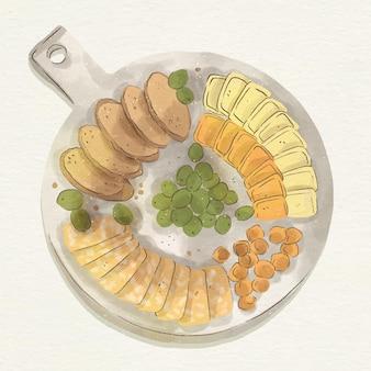 Illustrazione dell'acquerello del vassoio dei formaggi con accompagnamenti