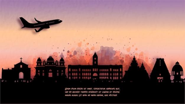 Acquerello di chennai, india silhouette skyline e famoso punto di riferimento. illustrazione.