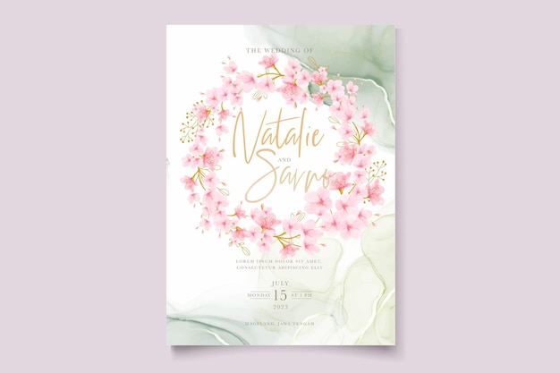 Set di carte floreali con fiori di ciliegio ad acquerello