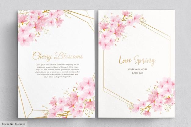 Carta di invito floreale di fiori di ciliegio dell'acquerello
