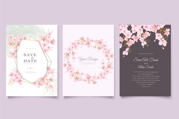 Set di carte floreali e foglie di fiori di ciliegio ad acquerello