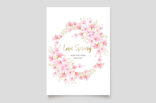 Insieme della carta dell'invito del fiore di ciliegia dell'acquerello