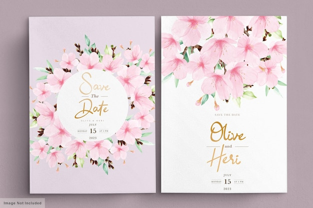 Modello di carta di invito fiore di ciliegio acquerello