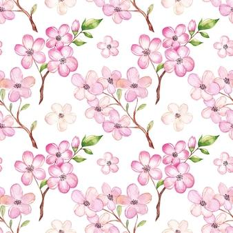 Acquerello modello di fiori di ciliegio