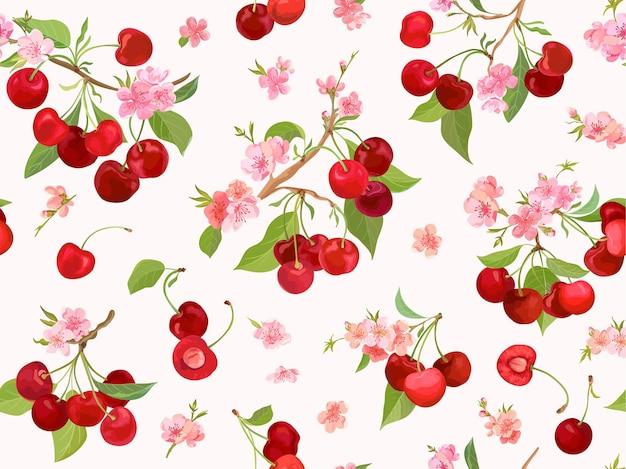 Reticolo senza giunte della ciliegia dell'acquerello. bacche estive, frutti, foglie, sfondo di fiori. illustrazione vettoriale per copertina primaverile, trama di carta da parati tropicale, sfondo, invito a nozze