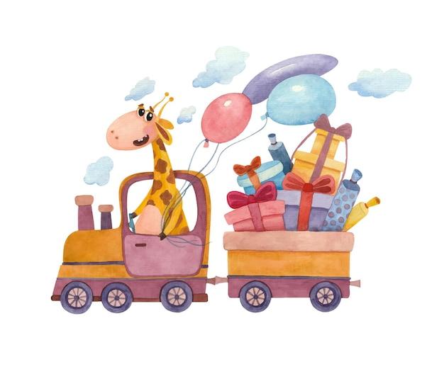 Foto ad acquerello per bambini con una giraffa e un treno a vapore pieno di regali e palloncini