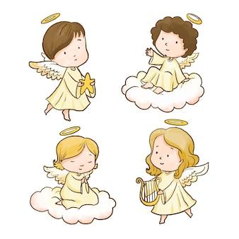 Collezione di angeli natalizi ad acquerello