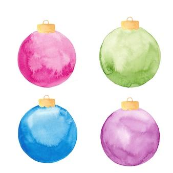 Ornamenti della sfera di natale dell'acquerello isolati. set di palline di natale dipinte.