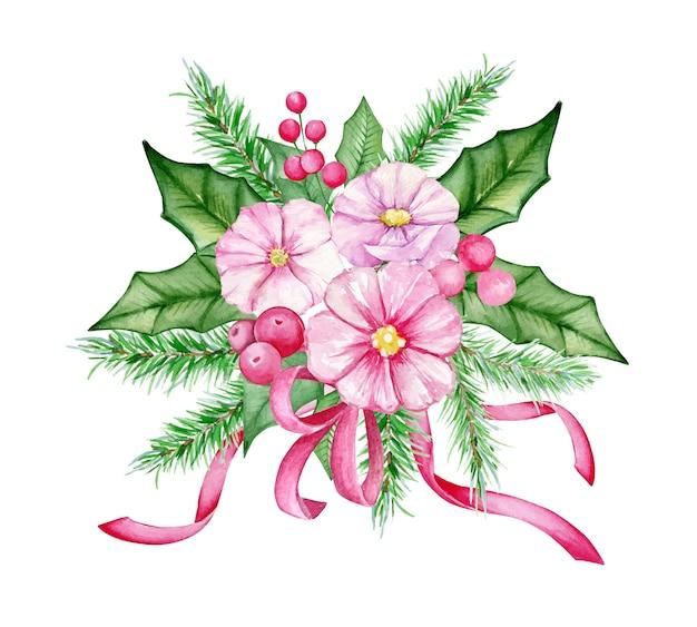 Bouquet di natale dell'acquerello con fiori, bacche, rami di abete. decorazioni per capodanno e natale