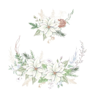 Bouquet di natale dell'acquerello con fiori di poinsettia