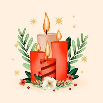 Priorità bassa della candela di natale dell'acquerello