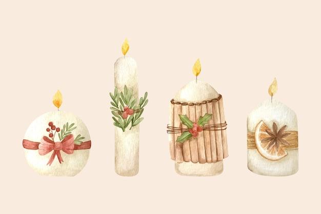 Collezione di candele natalizie dell'acquerello