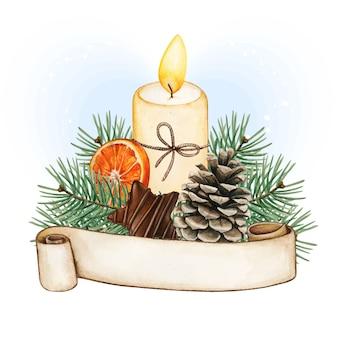 Decorazione di candele natalizie dell'acquerello con banner di scorrimento, pigna e cibo invernale