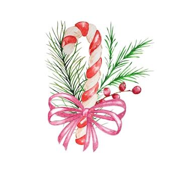 Bastoncino di zucchero di natale dell'acquerello con decorazioni.