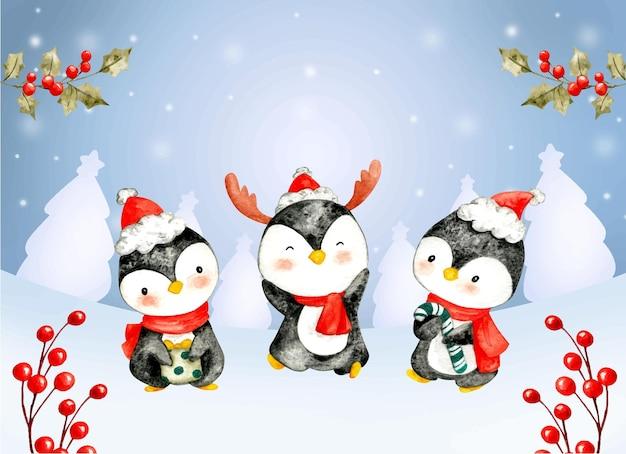 Cartolina di natale acquerello pinguino e ornamenti