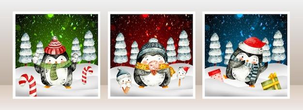 Cartolina di natale ad acquerello pinguino nella neve