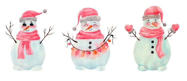 Collezione di simpatici pupazzi di neve di natale dell'acquerello in panno e ghirlanda rossi invernali
