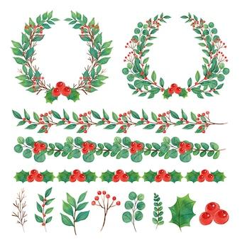 Illustrazione dell'acquerello della decorazione di natale