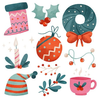 Collezione di elementi natalizi dell'acquerello
