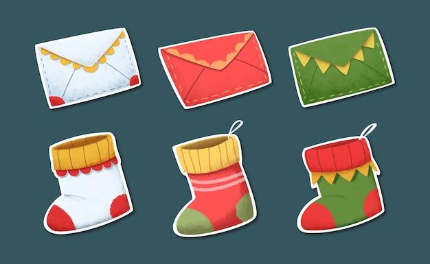 Set di adesivi elemento di natale dell'acquerello