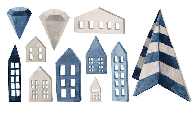 Illustrazione dell'acquerello di facciate di natale