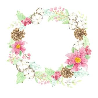 Acquerello natale fiore poinsettia pigna cotone e bacche cornice ghirlanda con copia spazio isolato su sfondo bianco
