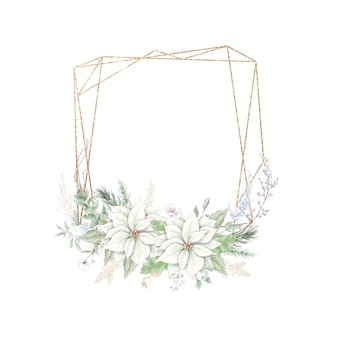 Cornici dorate di natale dell'acquerello con fiori rose e stella di natale