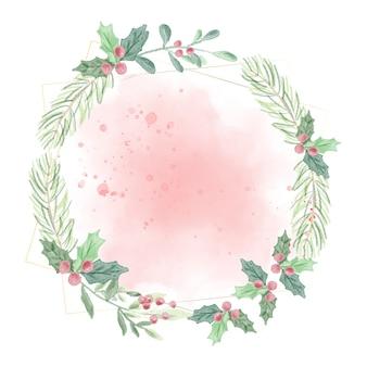 Foglie verdi di natale dell & # 39; acquerello sulla corona rossa del fondo della spruzzata