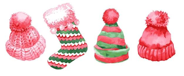 Cappelli lavorati a maglia di natale dell'acquerello e illustrazione del calzino