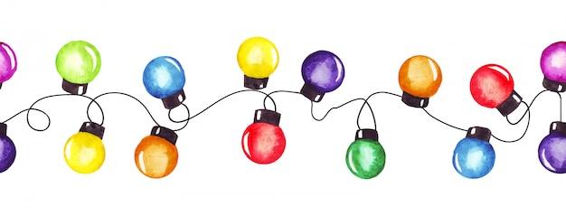 Ghirlanda di luci della festa di natale dell'acquerello. Vettore Premium