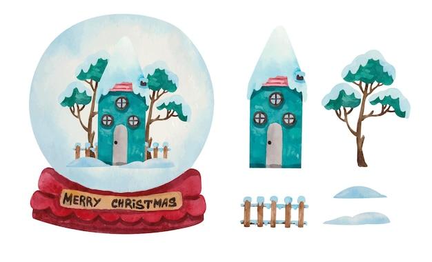 Globo della palla di neve di natale dell'acquerello con casa verde nevosa