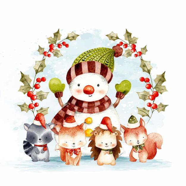Animali del bosco di natale ad acquerello con pupazzo di neve