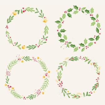 Collezione di ghirlande natalizie dell'acquerello