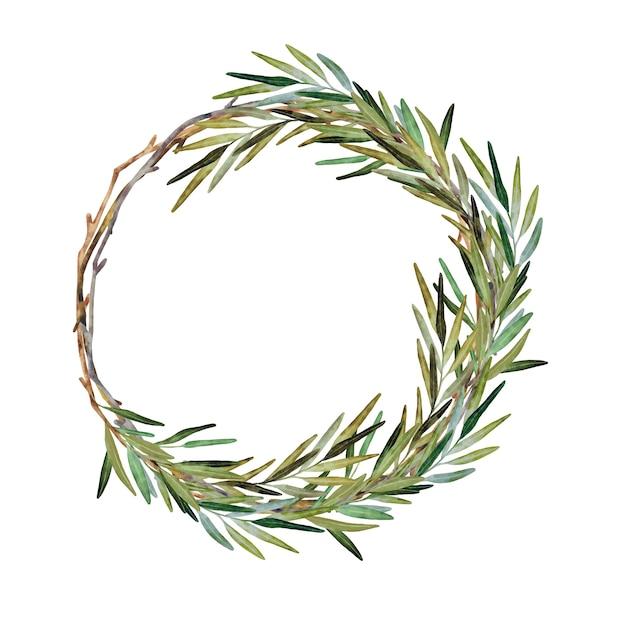 Corona di natale dell'acquerello con rami di rosmarino