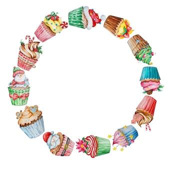 Corona di natale dell'acquerello con dolci di capodanno carino.