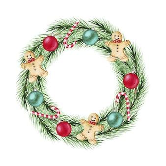 Corona di natale dell'acquerello con rami di abete, palline, caramelle, pan di zenzero. buon natale, anno nuovo.