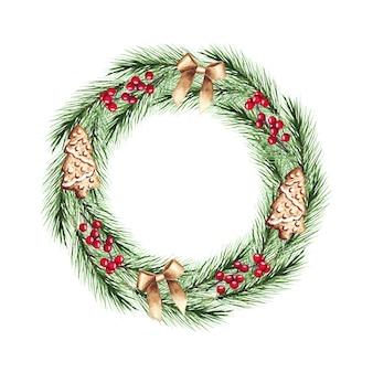 Corona di natale dell'acquerello con rami di abete, fiocchi, bacche, pan di zenzero. buon natale, anno nuovo