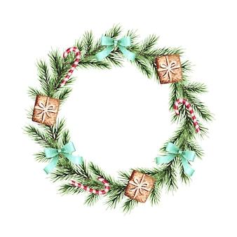 Corona di natale dell'acquerello con rami di abete, fiocchi, caramelle, pan di zenzero. buon natale, anno nuovo.