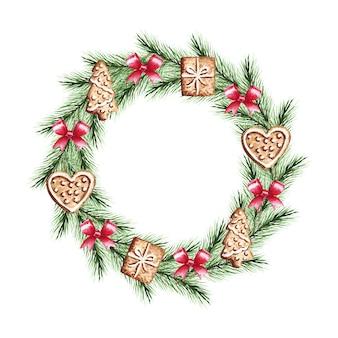 Corona di natale dell'acquerello con rami di abete, fiocchi, pan di zenzero. buon natale, anno nuovo.