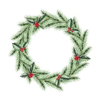 Corona di natale dell'acquerello con rami di abete, agrifoglio. buon natale e felice anno nuovo.