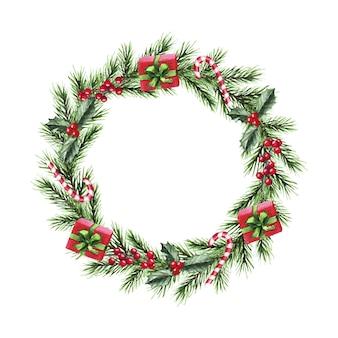 Corona di natale dell'acquerello con rami di abete, regali, caramelle, frutti di bosco. buon natale, anno nuovo.