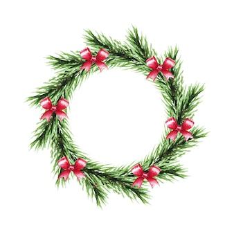 Corona di natale dell'acquerello con rami di abete e fiocchi. buon natale e felice anno nuovo.