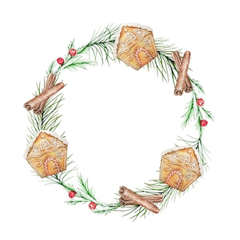 Corona di natale dell'acquerello con sfondo di rami e bacche di abete e pino.