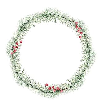 Corona di natale dell'acquerello con rami di abete e pino e bacche rosse. illustrazione